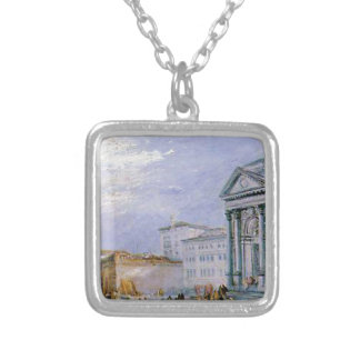 crowded ancient city silver plated necklace