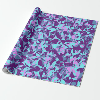 Crowded Flowers - Purple and Turquoise Wrapping Paper