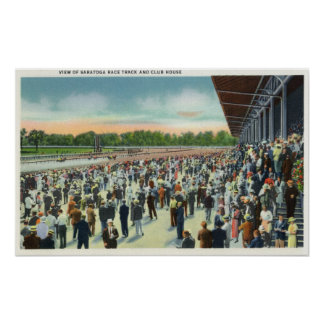 Crowds at Saratoga Race Track & Clubhouse Poster
