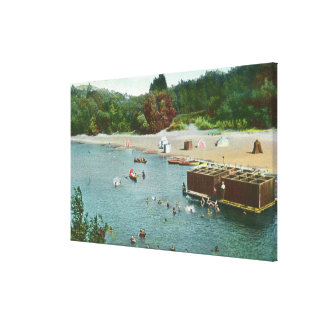 Crowds Swimming in the Russian River Canvas Print