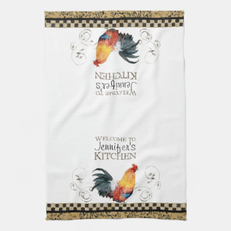 Crowing Rooster Black & Tan Check Swirl Kitchen Kitchen Towel