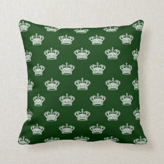 Crown 01 - White on Dark Forest Green Throw Pillow
