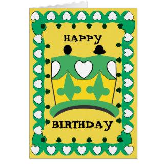 CROWN CHILD GREEN CARTOON GREETING Card