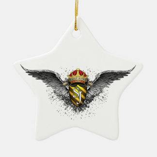 Crown, Crest and Wings Emblem by Street Justice Ceramic Star Ornament