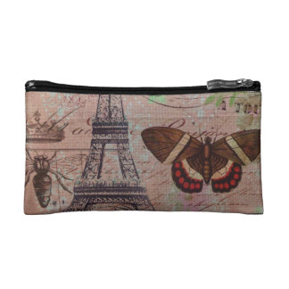 crown french bee butterfly Paris Eiffel Tower Makeup Bag