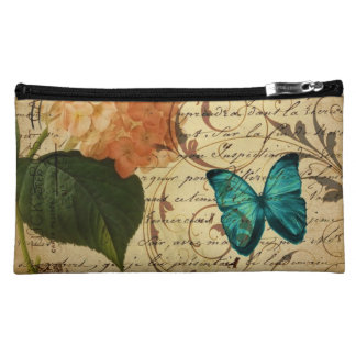 crown French botanical art butterfly hydrangea Cosmetic Bags