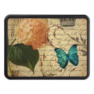 crown French botanical art butterfly hydrangea Trailer Hitch Cover