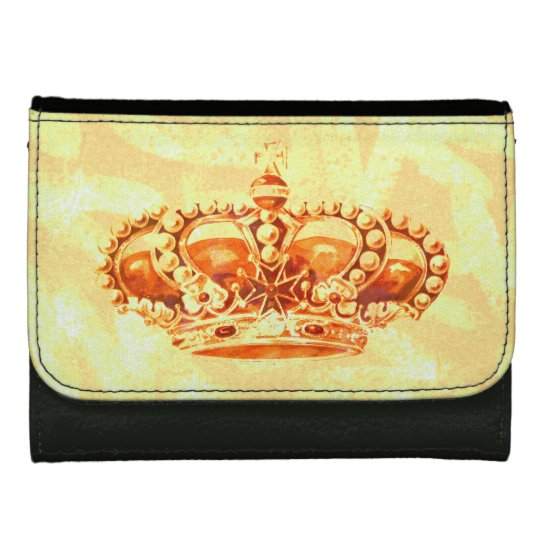 Crown in Gold Leather Wallet