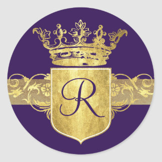 Crown Monogram, Gold Tones Classic Round Sticker