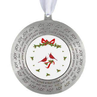 Crown of Christmas Round Pewter Ornament