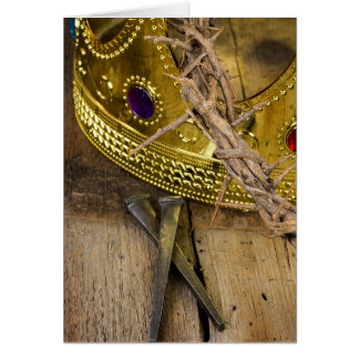 crown of thorns and gold crown with nails card
