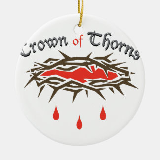 Crown of Thorns Round Ceramic Ornament