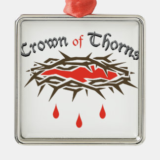 Crown of Thorns Silver-Colored Square Ornament