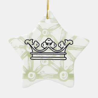 Crown on Background Pattern Ceramic Star Ornament