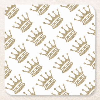 Crown Party Favors Square Paper Coaster