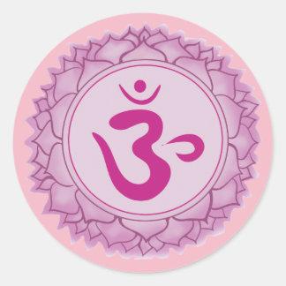 Crown Pink chakra Classic Round Sticker, Glossy Classic Round Sticker