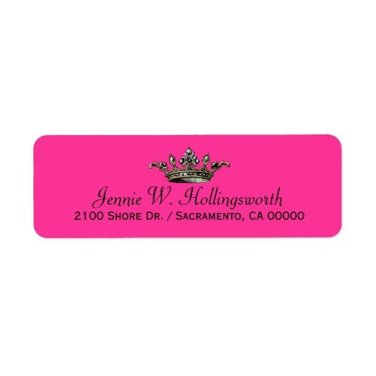 Crown Pink Girly Return Address Return Address Label