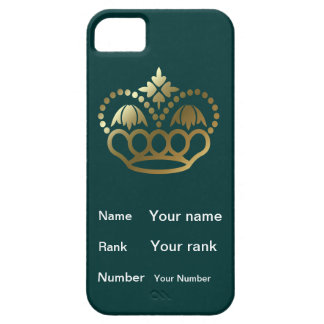 Crown with Name, Rank, Number - teal iPhone 5 Case