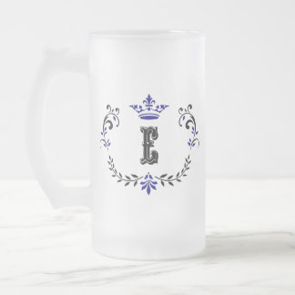 Crown Wreath Monogram 'E' Frosted Glass Beer Mug