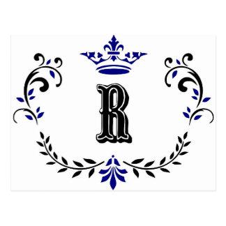 Crown Wreath Monogram 'R' Postcard