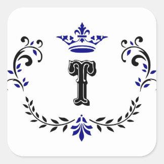 Crown Wreath Monogram 'T' Square Sticker