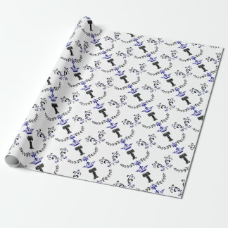 Crown Wreath Monogram 'T' Wrapping Paper