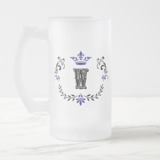 Crown Wreath Monogram 'W' Frosted Glass Beer Mug