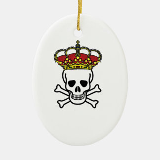 crowned death ceramic oval ornament