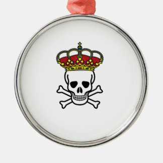 crowned death Silver-Colored round ornament