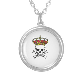 crowned death silver plated necklace