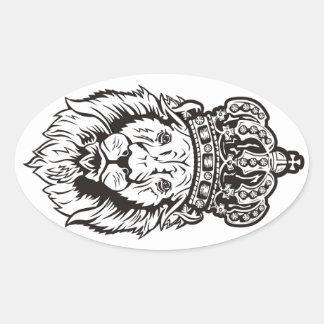 Crowned Lion's Head Oval Sticker