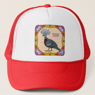 Crowned Pigeon Floral Trucker Hat