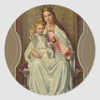 Crowned Queen of Heaven Infant Jesus holding Globe Classic Round Sticker