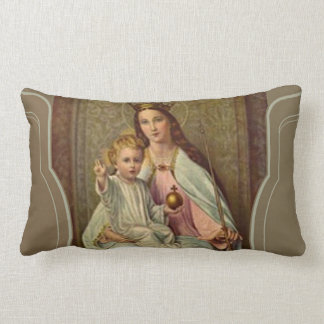 Crowned Queen of Heaven Infant Jesus holding Globe Lumbar Pillow