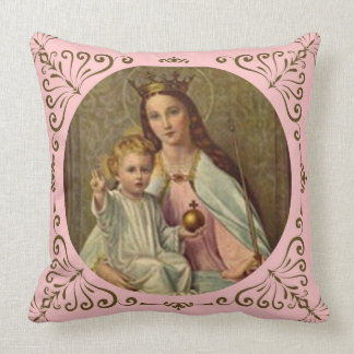 Crowned Queen of Heaven Infant Jesus holding Globe Throw Pillow