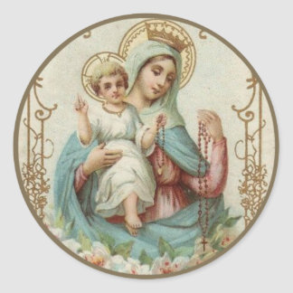 Crowned Queen of Heaven Infant Jesus w Rosary Round Sticker