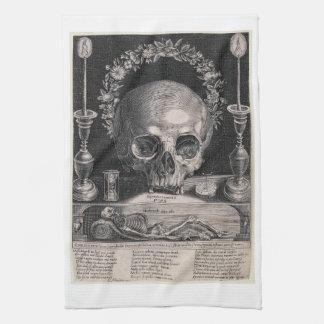 crowned skull kitchen towel