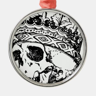 Crowned Skull Silver-Colored Round Ornament