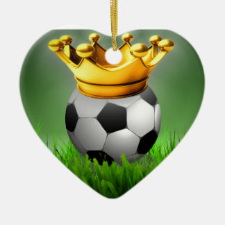 Crowned Soccer Ceramic Heart Ornament