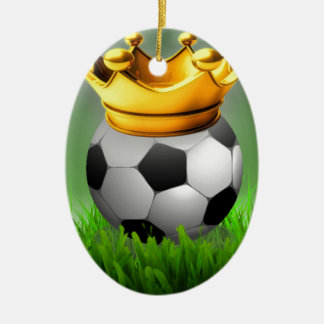 Crowned Soccer Ceramic Oval Ornament