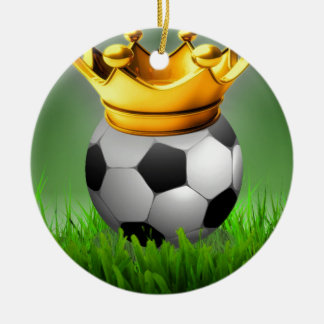 Crowned Soccer Round Ceramic Ornament