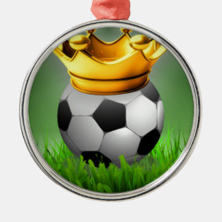 Crowned Soccer Silver-Colored Round Ornament