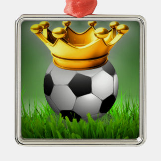 Crowned Soccer Silver-Colored Square Ornament