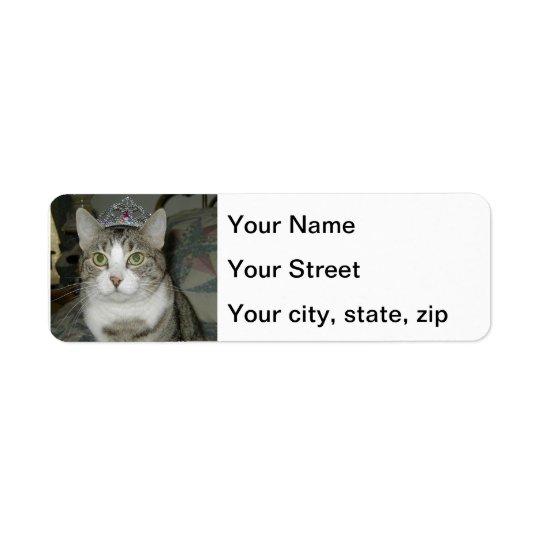 Crowned Tabby Cat Return Address Label