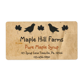 Crows And Maple Leaves Maple Syrup Label