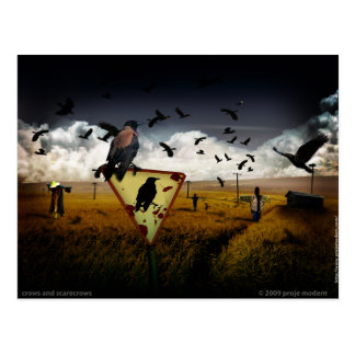 crows and scarecrows postcard
