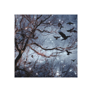 Crows In A Star Field Canvas Print