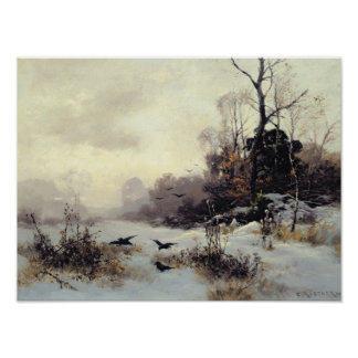 Crows in a Winter Landscape, 1907 Poster