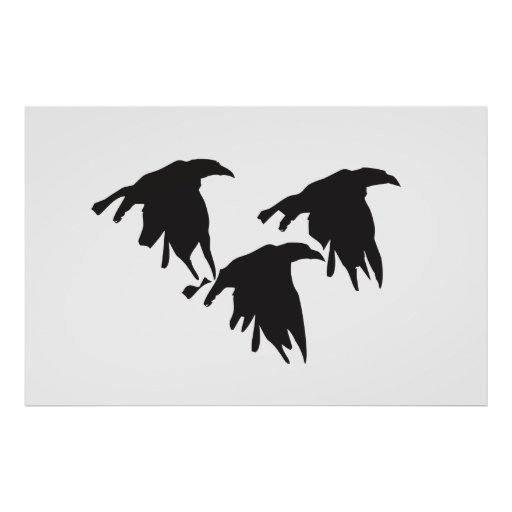 Crows in Flight Poster
