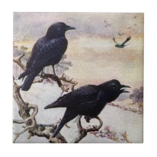 Crows in Winter Vintage Illustration Tile